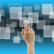 Woman hand with touch screen interface — Stock Photo