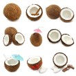 Coconuts collage — Stock Photo