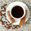 Cup of coffee with chocolate and cinnamon sticks — Foto de Stock