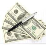 お金とメモ帳とペン — ストック写真