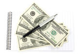 Money and pen with notepad — Stock Photo
