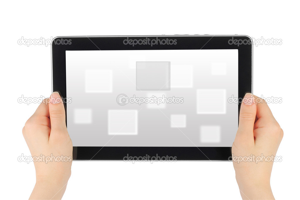 Woman hands holding touch screen device with virtual background  — Stock Photo #10826214