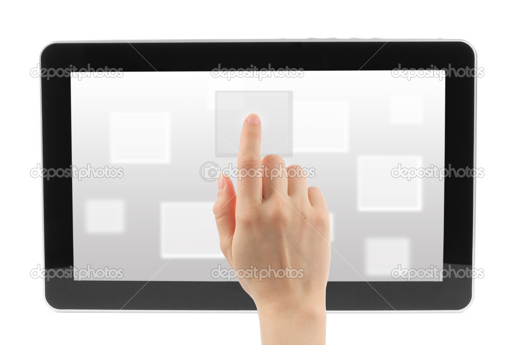 Woman hand with touch screen device with virtual background  — Stock Photo #10826233