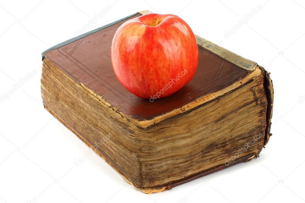 Old book with apple on a white background  — Stock Photo #10826789