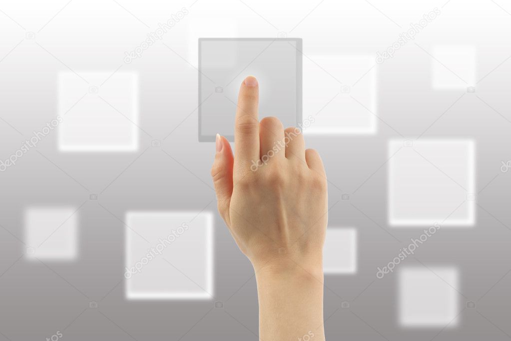 Woman hand with touch screen interface on grey background — Stock Photo #10826813
