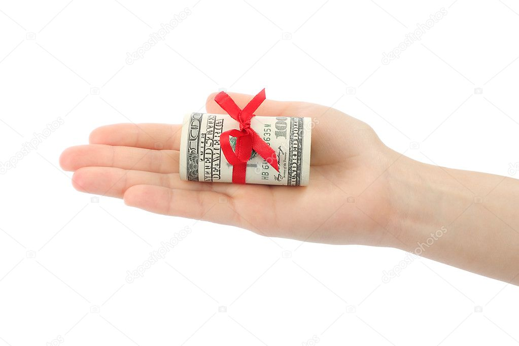 Hand with money present on white background — Stock Photo #10827633