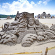 Dragon boat sand sculpture - Stock Photo