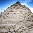 Village sand sculpture - Stock Photo