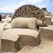 Polar bear sand sculpture — Stock Photo