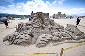 Dragon boat sand sculpture — Stock Photo