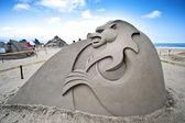 Monster sand sculpture — Stock Photo