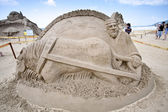 Farmer sand sculpture — Foto Stock