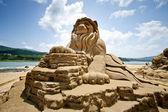 Löwe sand skulptur — Stockfoto