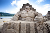 Hulk sand sculpture — Stock Photo