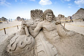 Bruce lee sand sculpture — Stock Photo