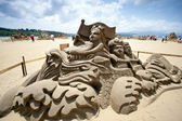 Drachen boot sand skulptur — Stockfoto