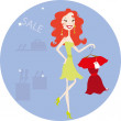 Pretty redhead woman in the store — Stock Vector