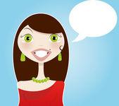 Beautiful brunette woman with speech balloon — Stock Vector