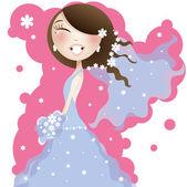 Pretty bride in blue dress — Stock Vector