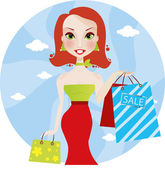 Cute smiling redhead woman with shopping bags sale — Stock Vector