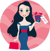 Pretty smiling woman with gift box — Stock Vector