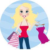 Muy sonriente mujer rubia con nuevo vestido y bolso de compras — Vector de stock