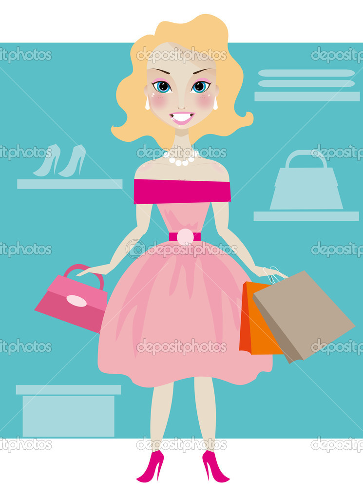 Pretty smiling girl in boutique — Stock Vector #11812965