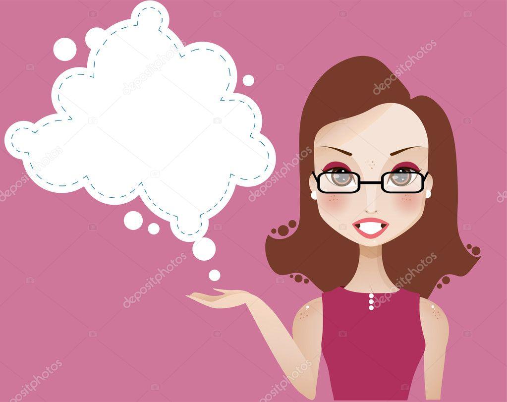 可爱的黑发女孩与空白色文本云 — 矢量图片作者 tka4u4a