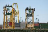 Working crane bridge in shipyard at dusk for Logistic Import Exp — Stock Photo