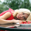 Portrait of a blonde strawberries — Stock Photo #11235615