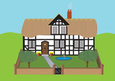 Thatched Cottage — Stockvector