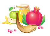 Honey, apple, pomegranate and horn — Stock Vector
