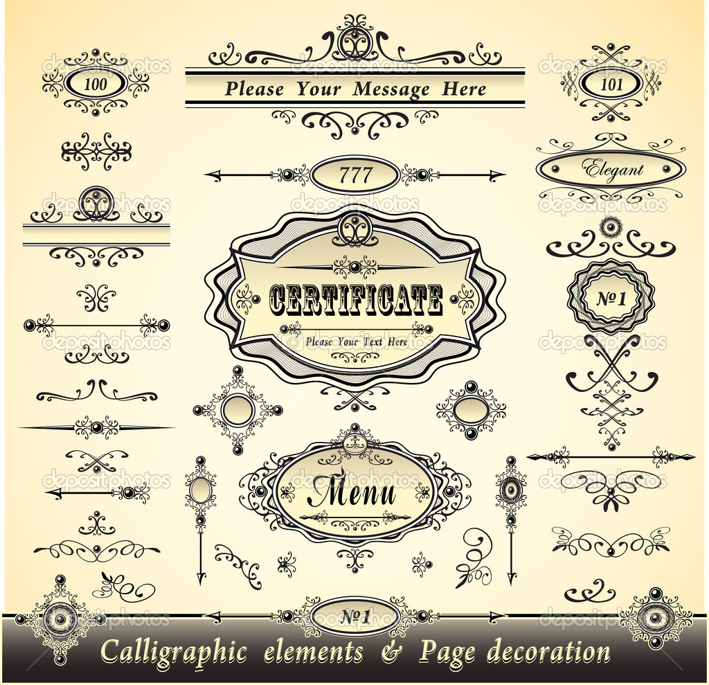 Set Calligraphy And Pages Decoration Stock Vector
