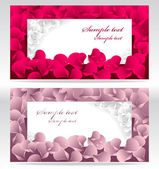 Two post card or frames or banners with red and pink petals — Stock Vector
