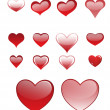 Set of different colored hearts — Stock Vector
