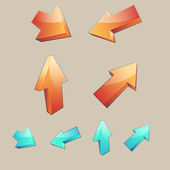 Set of 4 three-dimensional arrows — Stock Vector