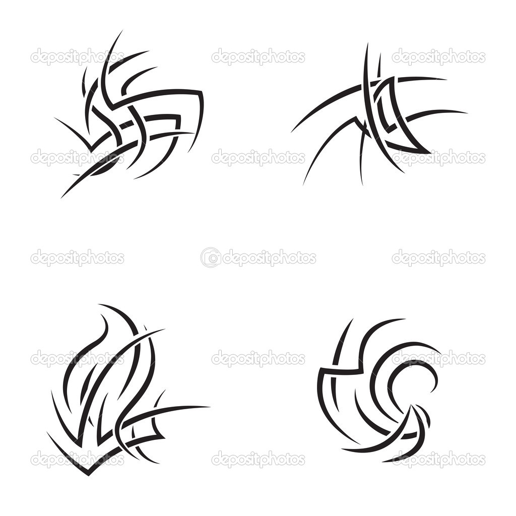 Tattoo design set. Vector illustration. — Stock Vector #12220257