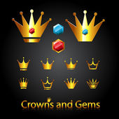 Crowns and gems — Vector de stock
