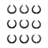 Black laurel wreaths 1 — Stock Vector
