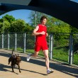Sportsman and dog running outdoors — Stock Photo