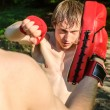 Two man training Muay thai in forest — Stock Photo #10917475