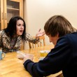 Wife quarrels with her husband in the kitchen — ストック写真