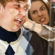 Office revenge: Woman pressed man to the glass — Stockfoto