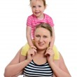 Happy woman and little girl isolated on white — Stock Photo #11133044