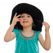 Smiling little girl in hat, isolated on white — Stock Photo #11133129