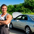 Handsome mechanic on a road near the broken car. — Stock Photo #11327562