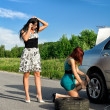 Two women are changing a tire on a road — Stock Photo #11327644