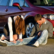 Woman and man on a road. Concept car accident — Stock Photo
