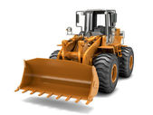 Hydraulic loader. Front view. Isolated on white — Stock Photo