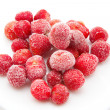 Stock Photo: Sweet, luscious frozen strawberries on white